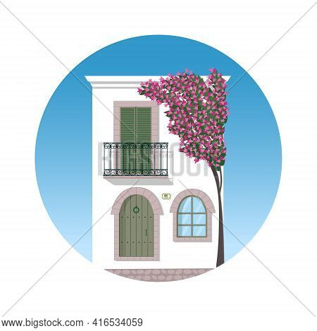 Typical White Mediterranean House With Bougainvillea Tree In Blossom. Isolated Vector Illustration O