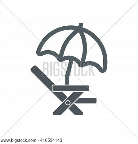 Chaise Lounge With Beach Umbrella Icon In Flat Style.vector Illustration.