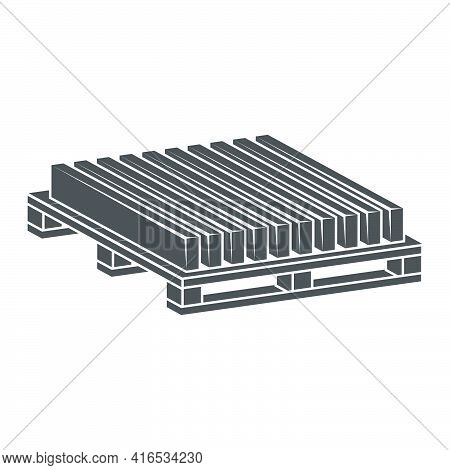 Sidewalk Curbs On A Pallet Icon.vector Illustration.