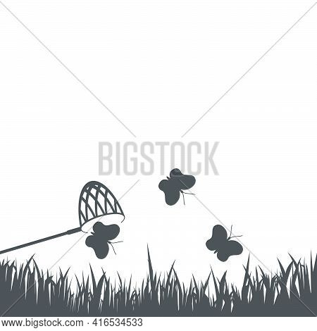 Catching Butterflies With A Butterfly Net Icon In Flat Style.vector Illustration.