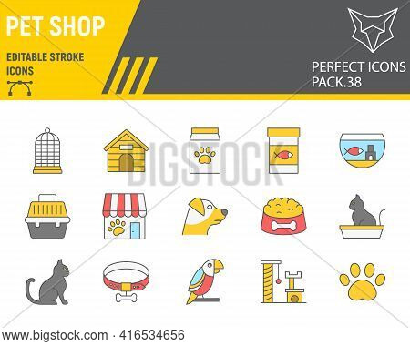 Pet Shop Color Line Icon Set, Pet Store Collection, Vector Graphics, Logo Illustrations, Pet Shop Ve