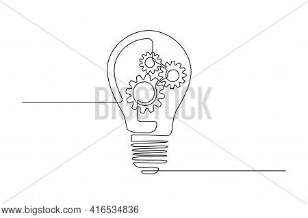 Lightbulb With Gear Wheels In One Single Line Drawing For Logo, Emblem, Web Banner, Presentation. Si
