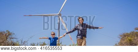 Banner, Long Format Alternative Energy, Wind Farm And Happy Time With Your Family. Happy Father On T