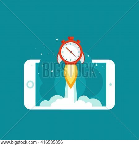 Smartphone With Red Stopwatch Rocket Ship And Cosmos On The Screen. Fast Time Stop Watch, Limited Of