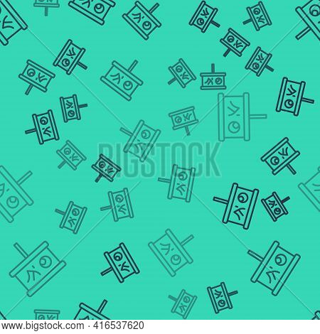 Black Line Planning Strategy Concept Icon Isolated Seamless Pattern On Green Background. Baseball Cu