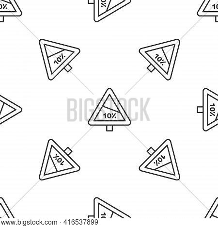 Grey Line Steep Ascent And Steep Descent Warning Road Icon Isolated Seamless Pattern On White Backgr