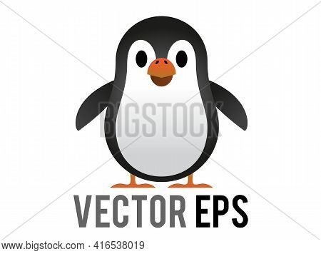 The Isolated Vector Black And White Penguin Icon With White Belly, Orange Month
