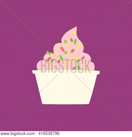 Hand Drawn Illustration Of Paper Cup With Strawberry, Raspberry Soft Serve Ice Cream Or Gelato Or Fr