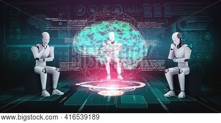 Thinking Ai Humanoid Robot Analyzing Hologram Screen Showing Concept Of Ai Brain And Artificial Inte
