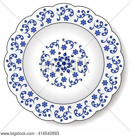 Porcelain Plate With Blue On White Abstract Oriental Ornament In Chinese Design Style. Traditional D