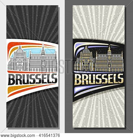 Vector Vertical Layouts For Brussels, Decorative Leaflet With Outline Illustration Of Brussels City