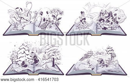 Fairy Tale Set Open Book Illustration. Wolf And Fox, Old Man And Bear