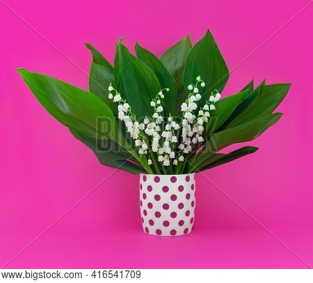 Greeting Card For Mother's Day With Bouquet Of Tender Lilies Of The Valley On  Pink Background. Spri