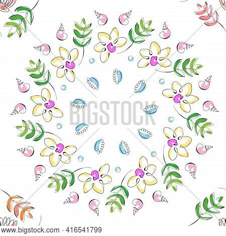 Hand Drawn Colorful Flowers And Sea Shells. Summer Sea Shells Doodles Collection. Beautiful Design F
