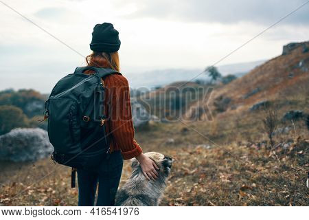 Cheerful Woman Hiker Outdoors Mountains Dogs Travel Friendship