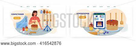 Confectioner Landing Page Design, Website Banner Vector Template Set. Woman Cooking Cake Before Vide