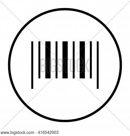 Barcode Sample In Circle Thin Line Icon In Black For Smartphone Scanning. Isolated On White Backgrou