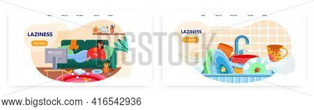 Laziness Landing Page Design, Website Banner Vector Templates. Lazy Woman Lying On Couch In Messy Ro