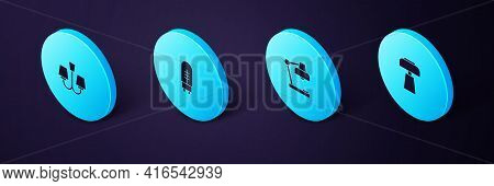 Set Isometric Table Lamp, , Light Emitting Diode And Chandelier Icon. Vector