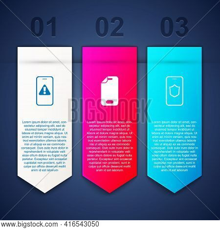 Set Mobile With Exclamation Mark, Glass Screen Protector And Shield. Business Infographic Template.