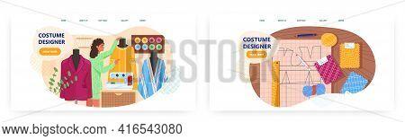 Costume Designer Landing Page Design, Website Banner Vector Template Set. Fashion Designer Studio.