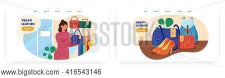 Vegan Leather Landing Page Design, Website Banner Vector Template Set. Woman Holding Bag Made Of Eco