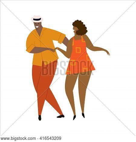 Hand Drawn Vector Illustration Of A Couple Dancing Sexy Fun Bachata, Salsa, Kizomba Dance. Isolated