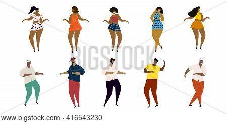 Set Of Vector Hand Drawn Cartoon Illustrations Of Latino, Carribean, African Men And Women Dancing M