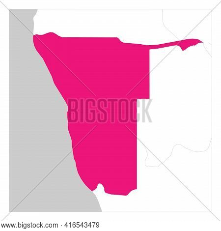 Map Of Namibia Pink Highlighted With Neighbor Countries.