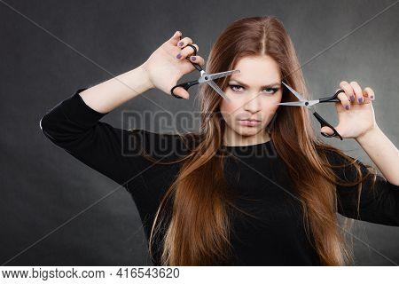 Elegance And Classy. Fashion Style Of Hairdo. Female Professionalist With Scissors. Elegant Woman Pr