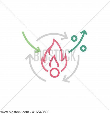 Metabolism Icon. Linear Medical Pictogram. Chemical Process Sign