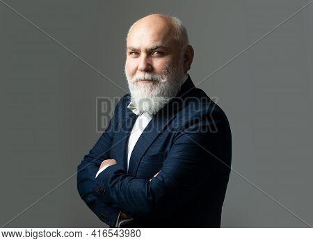 Smiling Caucasian Man Portrait Of Person In Studio. Old Man. Happy Senior Male Model