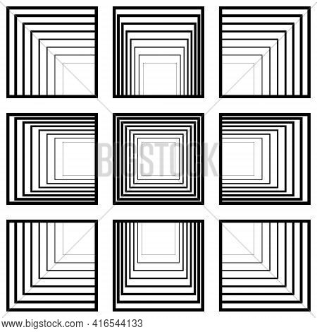 Set Of Window Squares With Perspective Tending To The Center, Vector Perspective Concept Tunnel Tran