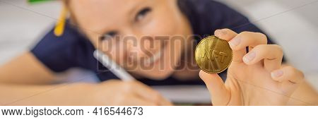 Banner, Long Format Nft Young Woman, A Digital Artist, Creates Digital Art On A Tablet At Home And S