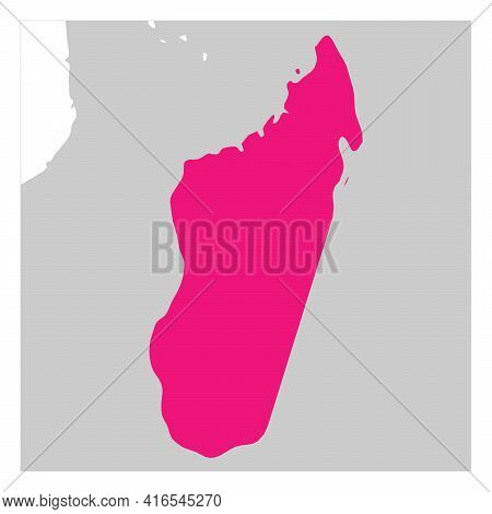 Map Of Madagascar Pink Highlighted With Neighbor Countries.