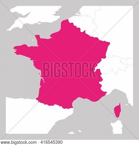 Map Of France Pink Highlighted With Neighbor Countries.