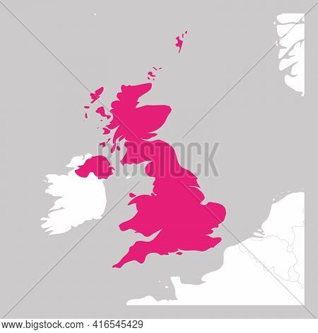 Map Of United Kingdom Of Great Britain And Northern Ireland Pink Highlighted With Neighbor Countries
