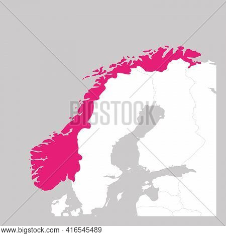 Map Of Norway Pink Highlighted With Neighbor Countries.