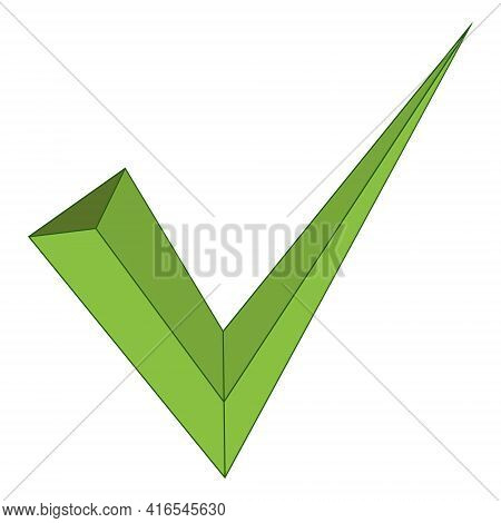 3d Sign Approval Accepted Check Mark, Vector Symbol Yes Ok Flat, Vector Sign