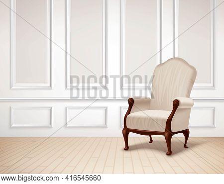 Classic Interior Illustration. Interior Vector Design. Classic Room Realistic Illustration. Classic