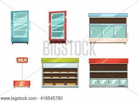 Supermarket And Grocery Stories Display Racks Aisle Refrigerator And Sale Stand Retro Cartoon Icons