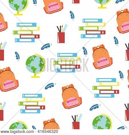 Seamless School Pattern With Satchel And Textbooks And Globe, On White Background