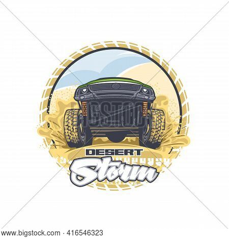 Illustration Of An Off-road Vehicle Overcoming Difficult Obstacles In The Desert. Can Be Used For Pr