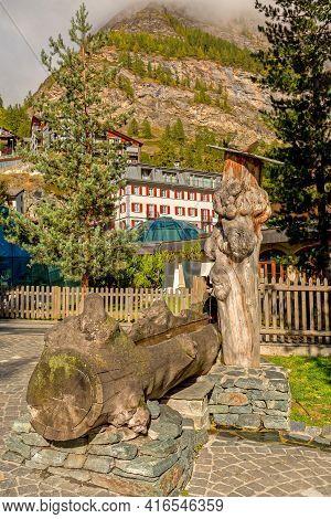 Zermatt, Switzerland Town Autumn Street View In Famous Swiss Ski Resort