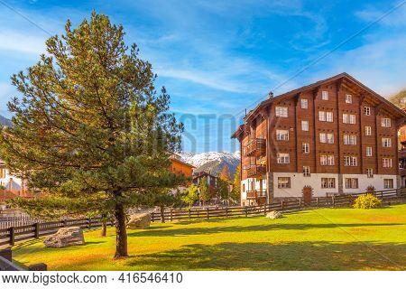 Zermatt, Switzerland Alpine Village, Swiss Alps Colorful Summer Panorama, Houses And Green Trees