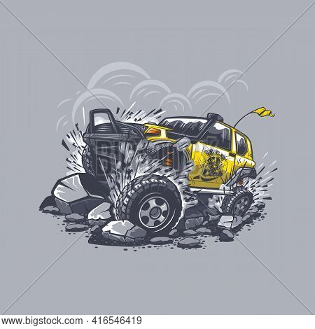 Off-road Car On A Gray Background Fights With Obstacles From Stones In The Mountains. Can Be Printed