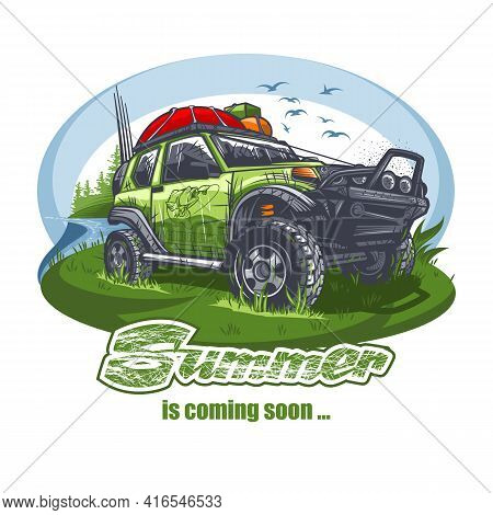Green Off-road Car With Luggage On The Roof Near The Lake With The Inscription. Can Be Printed On T-