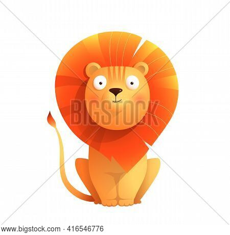 Baby Lion Cute Animal Vector Design For Stickers, Baby Shower Or Nursery Art. Adorable Lion For Kids