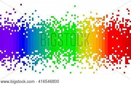 Spectrum Rainbow Colors Fading Pixel Square Modern Abstract Background Pattern Center To Top And Bot