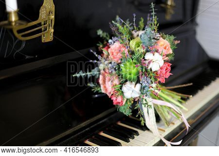 Bouquet Of Flowers With Peony Roses, Tulips, Cotton, Succulent And Baby Blue Eucalyptus. Round Bouqu